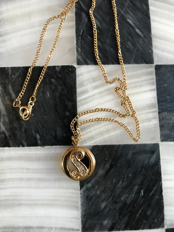 Small Avon Rhinestone Goldtone S initial Pendant Necklace