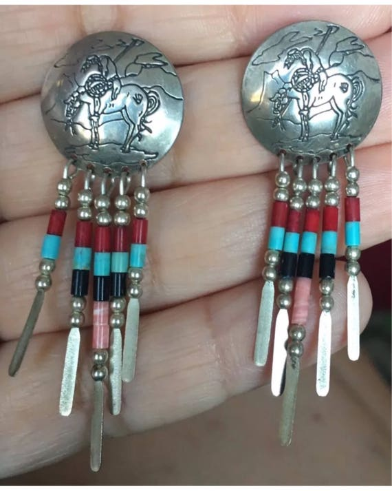 Incredible Vintage Native QT QUOC Turquoise Concha End if Trail Sterling horse Bronco Earrings