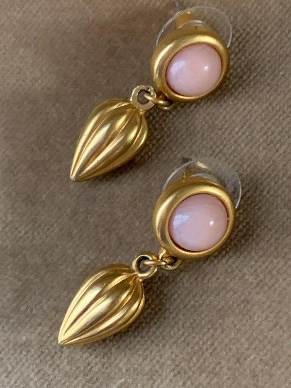 Vintage AVON Angel Skin Pink Hollywood Regency Romantic Dangle Statement Earrings