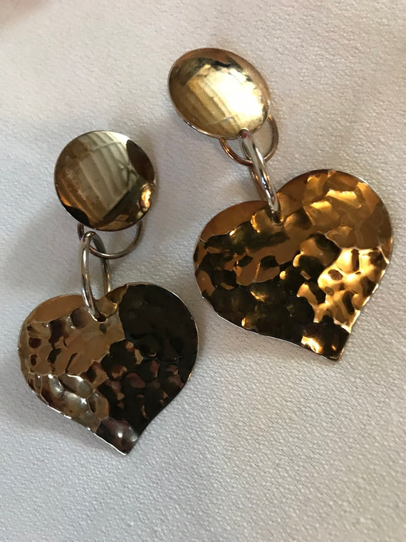 Oversized Hammered Goldtone Heart Dangles , Awesome 80s Big Bold Bling, Glamour Jewelry, Statement Earrings