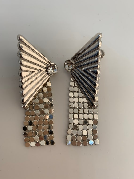 Whiting & Davis Art Deco Statement Earrings, Chrome Silver and Ice Rhinestone Mesh Danges, Vintage Collectible Designer Glamour Jewelry