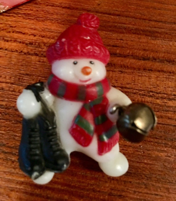 Festive Vintage Christmas merry snowman holiday pin comes giftboxed & ribboned
