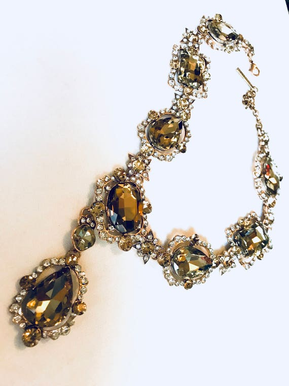 Super Glamorous Huge Gothic Crystal Runway Necklace, Light Topaz Massive Crystal Heavy Chunky Statement Necklace, Signed