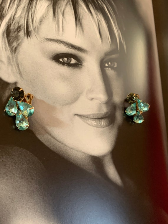 WEISS Aqua Rhinestone Clip on Vintage Earrings