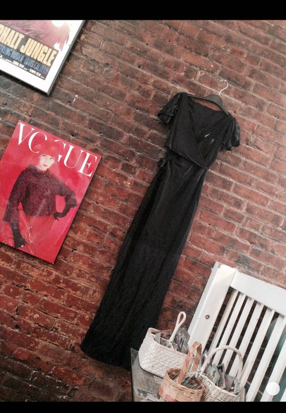 Vintage CHANEL slinky Black Dress, Knit & Lace Sexy 90s Maxi Gown, Celebrity Pre Owned, Paris France Designer Hollywood Red Carpet Dress