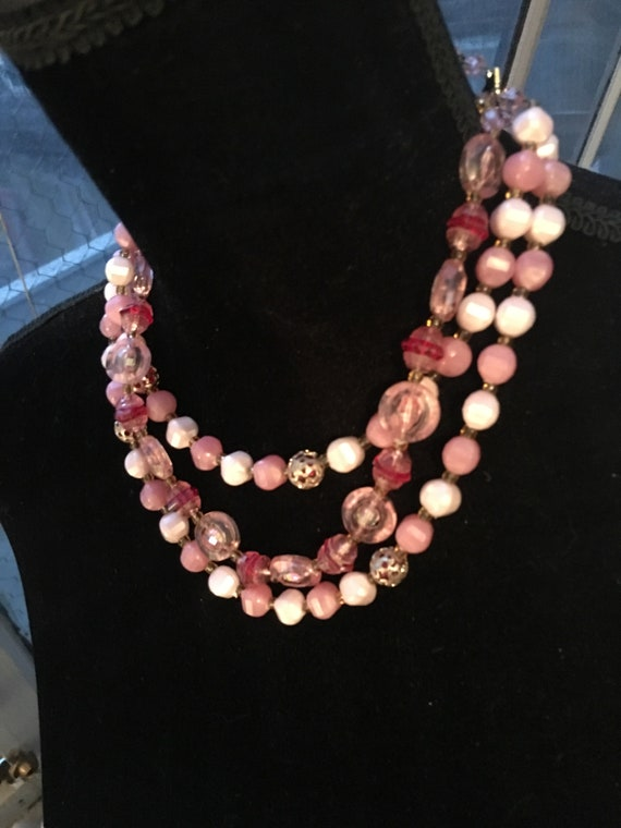 Pretty in Pink Choker statement Necklace, multistrand, Pink Beads with Ornate Filigree, Dainty Vintage Prom Jewelry, Date Night Bling