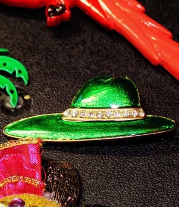 Vintage 80's Metalic Enamel Bizzare Green Fedora With Rhinestone Band Hat Brooch Pop Novelty Pin
