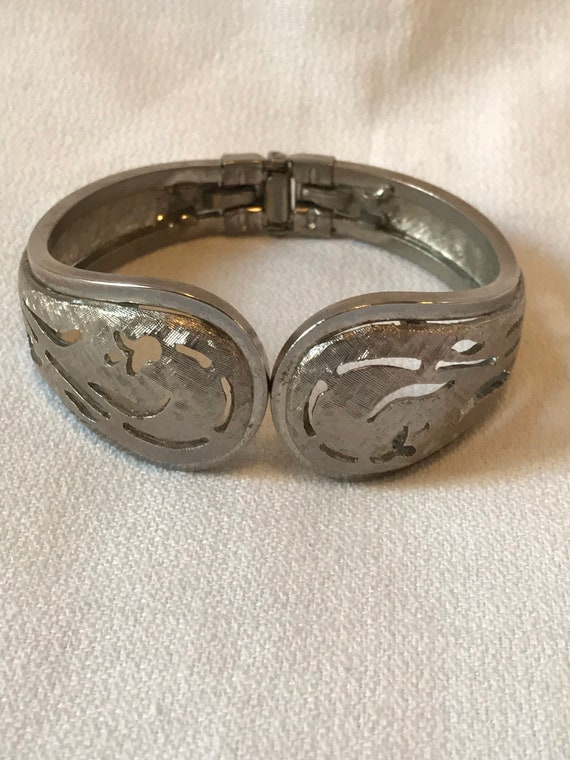 Mid Century Etched Silvertone Gothic Scrollwork Madmen Clamper Bracelet