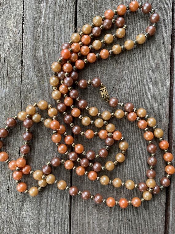 Warm Autumn Colored Cream lt pumpkin & Bronze Faux Pearl Beads, ornate Art Nouveau Clasp, Antique necklace from Grandmas Jewelry Box