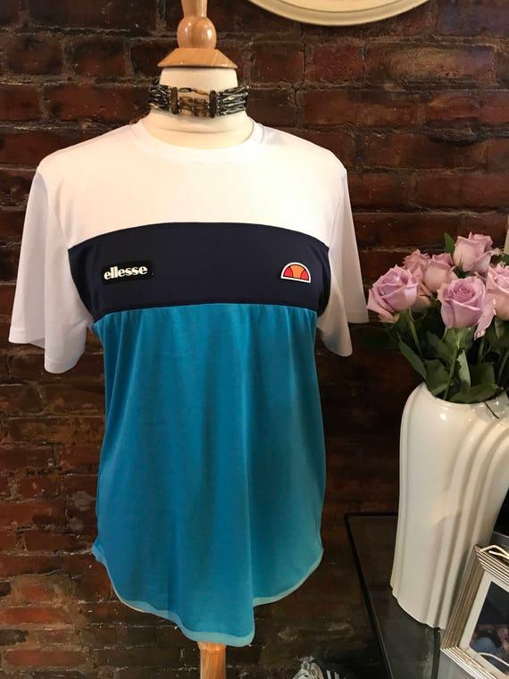 Vintage Ellesse Italy Active Wear Sports Tennis Soccer Biking Running Shirt Blue & White Stripe Shirt