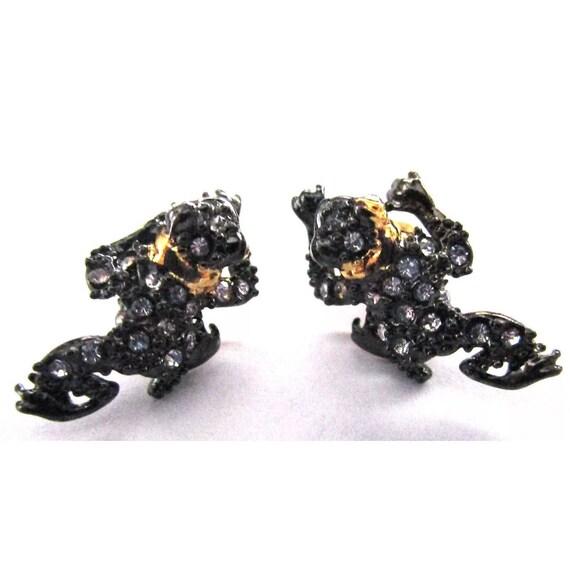 ALEXIS BITTAR Crystal Encrusted Frog Earrings
