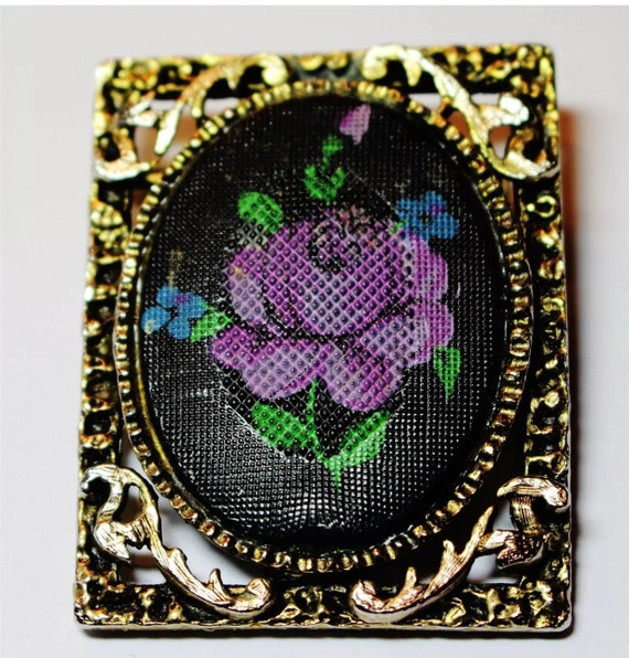 Fantastic Brooch Pin Black & Purple Faux Cross Stitch Floral Cameo in Decorative Goldtone  Frame