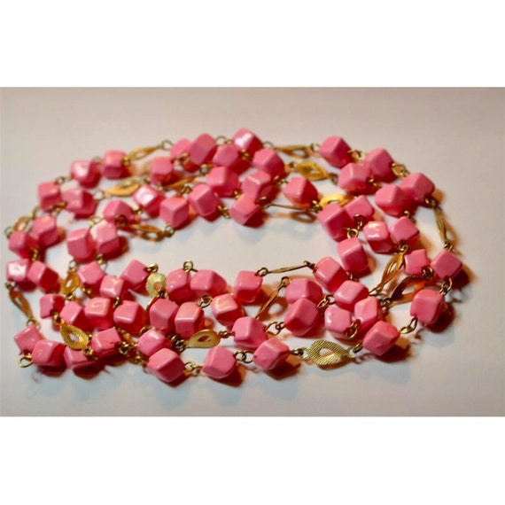 Flirty vintage bubble gum pink square beads connected artfully with teardrop shaped goldtone links funky long strand