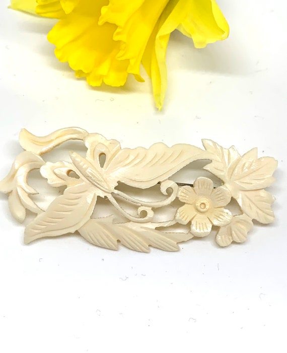 Art Nouveau / Art Deco Vintage Brooch, Elegant Floral and Butterfly White Carved Bone Lapel Pin, Openwork Bar Pin