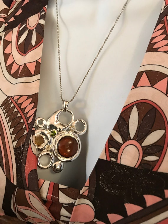 Unique Vintage Abstract Modernist Pendant Necklace with ball chain, Silvertone with Topaz Cabochons