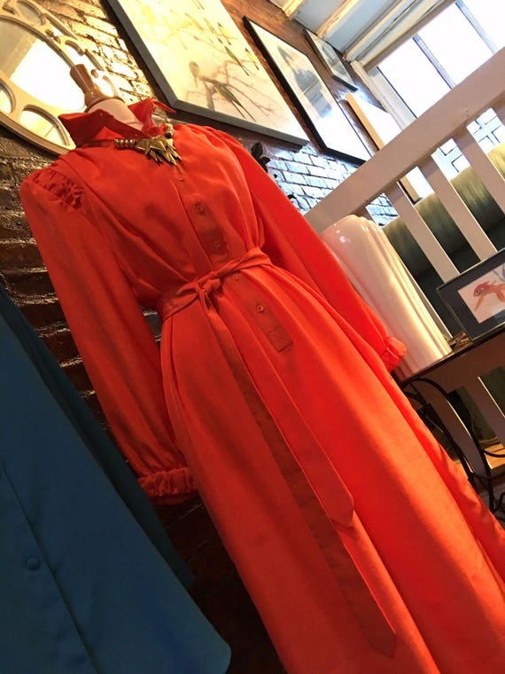 Futuristic 80's Orange Dress, Bladerunner Chic Super Cool Zoom Party Outfit, mint condition, stylish Vintage Summer Dress !