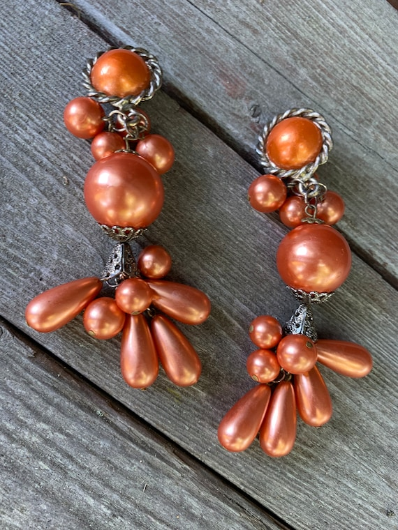 Frida Kahlo Styled Festive Swingy Huge Dangles, Giant Coppery Orange Pearl Beaded Vintage Cha Cha Tropical Statement Earrings