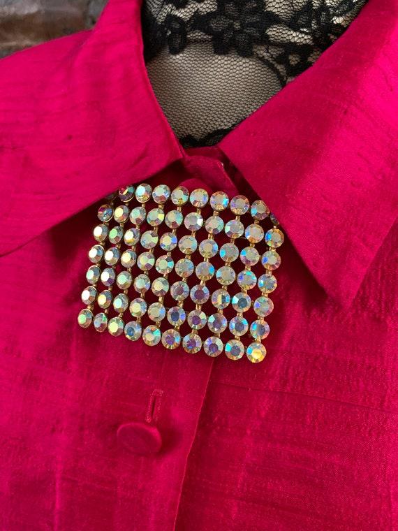 Bold Modernist AB Rhinestone Rectangular Minimalist Vintage Brooch, Now trending Unisex Lapel Pin