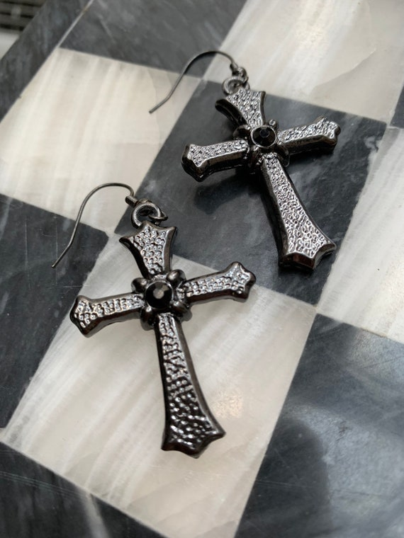 Gunmetal & Black Rhinestone Gothic Cross Dangles, Material Girl   90s Glamour Jewelry, video babe glamour grunge Statement Earrings