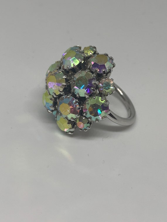 Vintage Sarah Cov Aurora Borealis Rhinestone Dome Cocktail Ring, Sparkly Statement Ring, Bling!