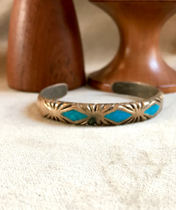 1930's  C G Wallace Copper/Sterling With Turquoise Inlay Zuni Native American Cuff Bangle, Highly Collectible Vintage Southwestern Jewelry