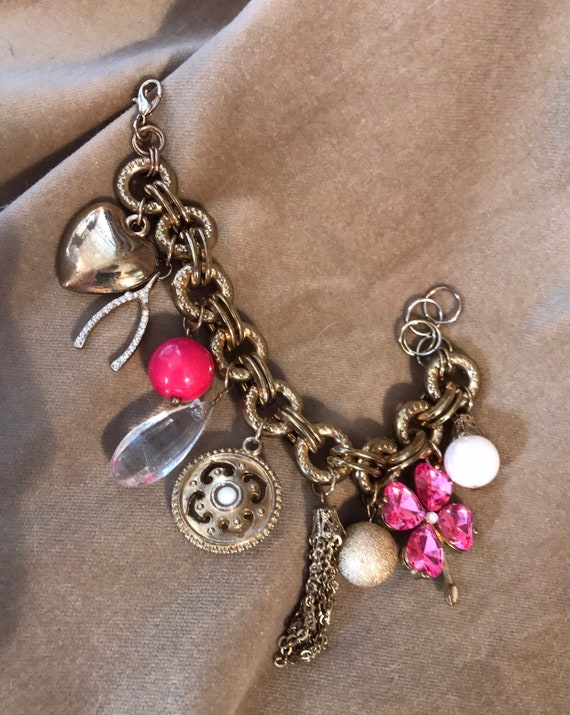 Chunky Vintage Glamour Fashion Jewelry Pink & Goldtone Lucky Charm Bracelet