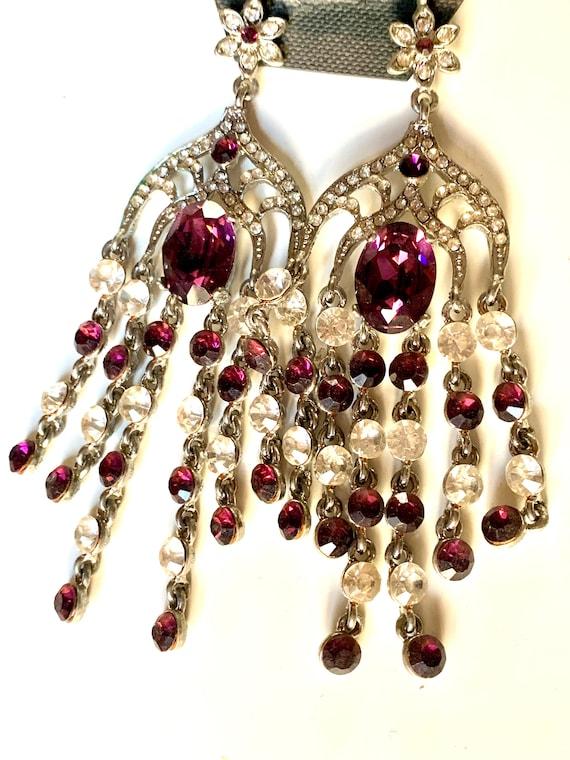 Huge Purple Amethyst Crystal Chandelier Dangles, 90s Glamour Statement Earrings, Silvertone w/ Purple & Ice  Rhinestones By EJ NYC PARIS