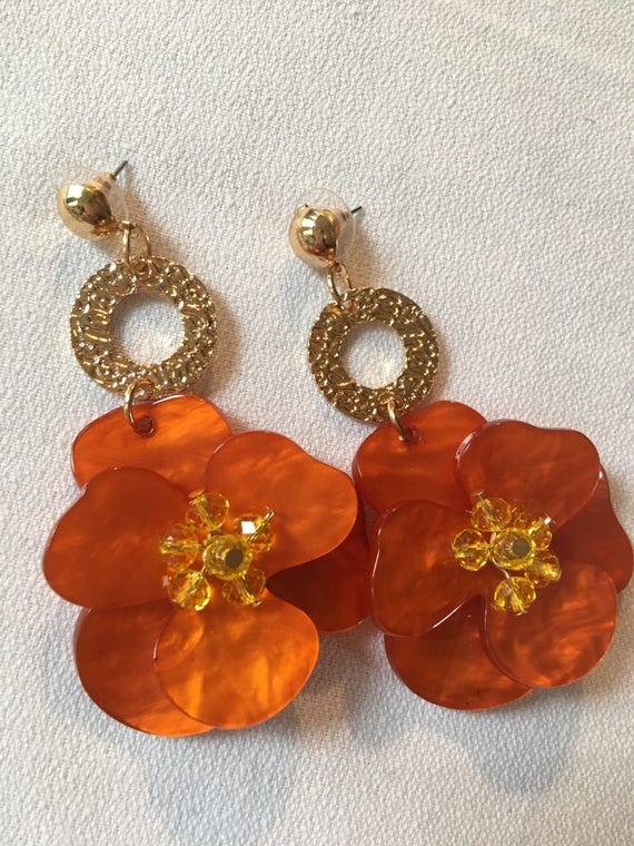 Huge Yellow Crystal and Burnt Orange Lucite Flower Dangle Earrings, Sexy Tropical Vacation Poolside Glamour Jewelry