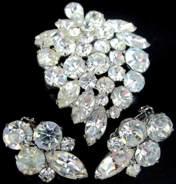 WEISS Sparkling Ice Rhinestone Set, Signed Vintage Brooch & Earrings, Hollywood Regency Glamour Jewelry Lapel Pin and Matching Earrings