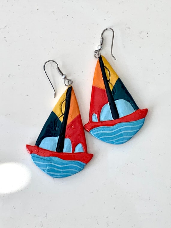 Vintage Hand Painted Sailboat Earrings, Colorful Color Block Enamel Painted Wooden Dangles, Nautical Jewelry, Sailing, Boating Beach Lovers