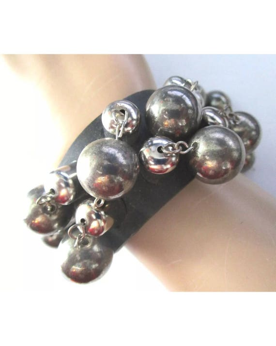 Vintage Silver Ball & Black Gothic Cuff Bracelet, Punky Edgy EMO Rave Disco Dance Jewelry