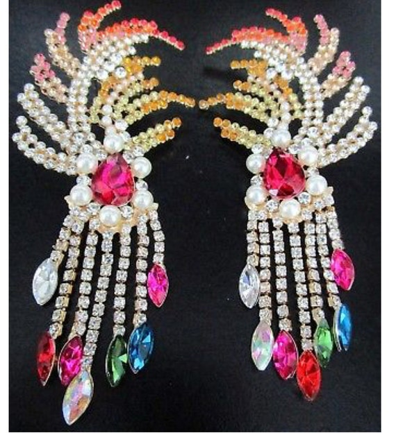 HUGE Colorful Rhinestone Feather Fringe Earrings