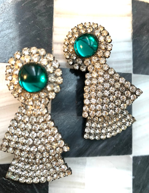 Glamorous Big Bling Statement Earrings, Art Deco Blue Green & Ice Rhinestone Moving Parts Articulated clip ons