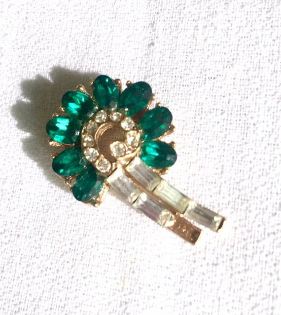 Mid Century Vintage Art Deco Style Ice & Green Rhinestone Gem Lapel Scatter Pin