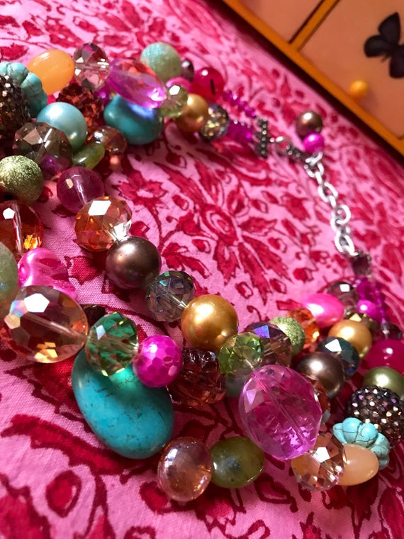 Flirty 80s Trendy Jewelry, pop culture mix media Pretty in Pink Pastels & golden Crystal Artsy Beads, Material Girl Statement Neckace, Zany