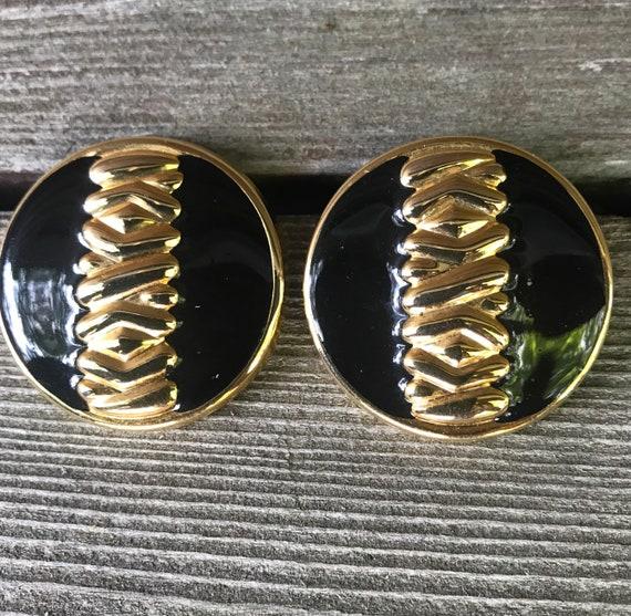 Gorgeous Black Enamel On Goldtone Bold 80s Art Deco Modernist Statement Earrings