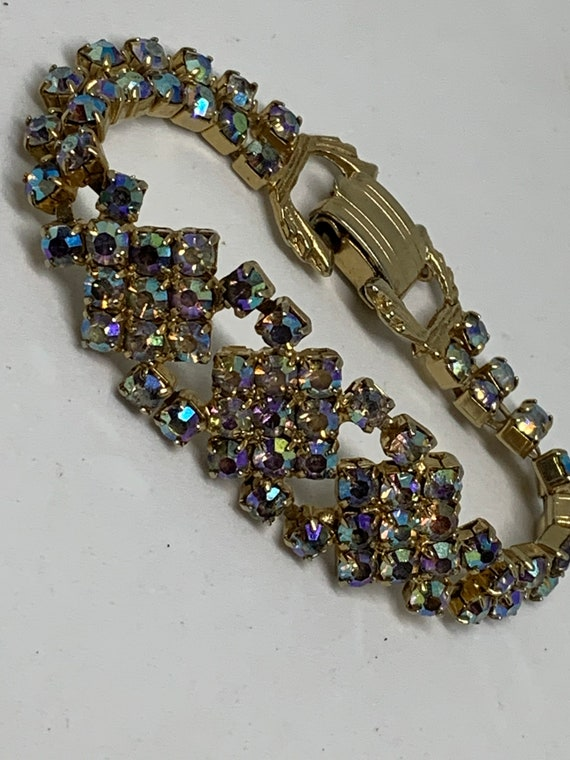 Glitzy Hollywood Regency Aurora Borealis Rainbow glazed Rhinestone Art Deco Style Mid Century Bracelet