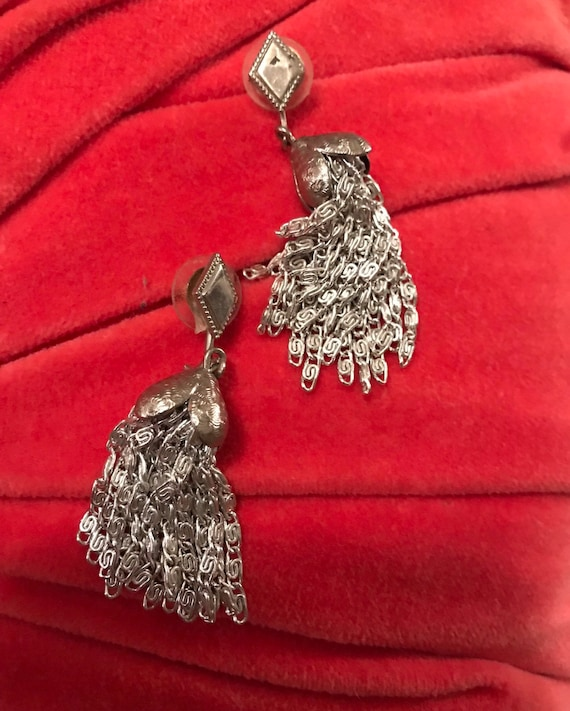 Mid Century Vintage Silvertone Chain Tassel Dangle Earrings