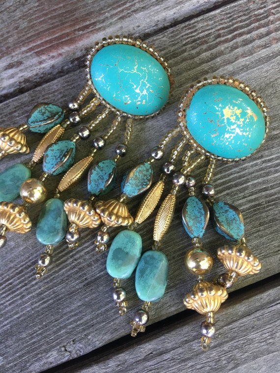Funky Vintage Boho Handcrafted Turquoise Beaded Chandelier Tassel Dangle Statement Earrings
