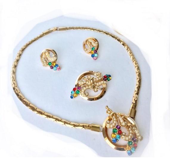 Vintage Oleg Cassini 3 piece Parure Necklace Brooch & Earrings, 40s 50s, 12k gold filled Jewelry Set in original box
