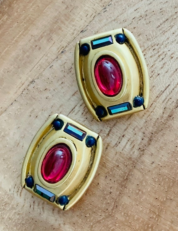 80s Gypsy Glam Mogul Statement Earrings: Ruby Red Poured Glass, Amethyst Crystal baguettes & Colbalt Beaded High End Matte Goldtone Clip ons