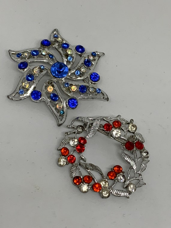 A Pair of Silver tone & Rhinestone Holiday Brooches, Christmas Hanukkah Lapel Pins