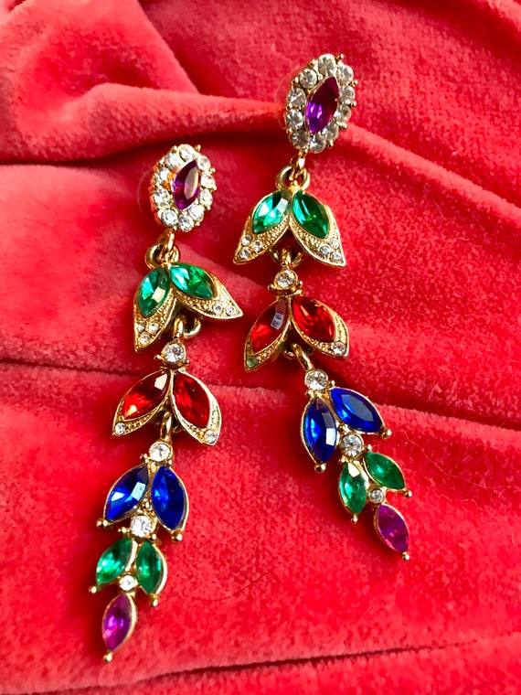 Awesome 80s Runway RAINBOW Rhinestone Dangle & Drop STATEMENT EARRINGS