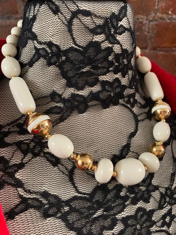 Vintage Trifari Vanilla Cream & Gold Geometric Choker Necklace