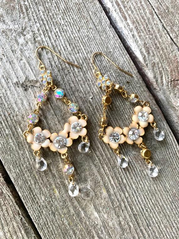 Pretty Beige Vanilla Ivory Enamel Floral Chandelier Statement Earrings with Ice Rhinestone Dangles