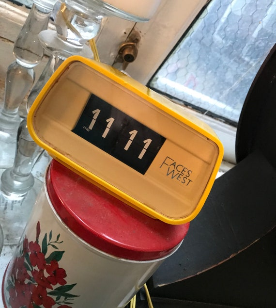 Modernist Yellow Flip Clock by FACES WEST, 70s Vintage Clock made in Japan, Mid Century Eames Era Plastic Clock, not an alarm clock