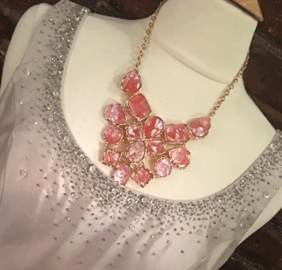 Frosty Pearlized Pink Plastic Acrylic Shingled Goldtone Bib Statement Necklace
