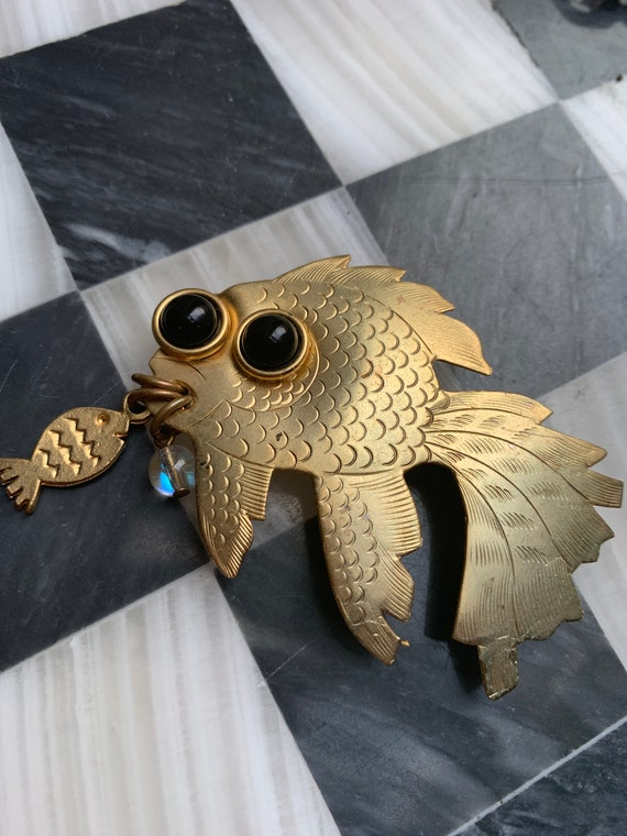 Cute Vintage Black Big Eyed Funky Fish Lapel Pin with Charms