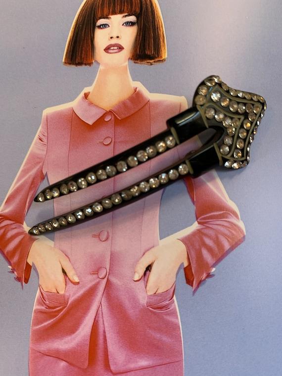 Unique Art Deco Hair Pin Brooch, Vintage Black Acrylic & Rhinestones, Trending Lapel Pin Or Hair Ornament