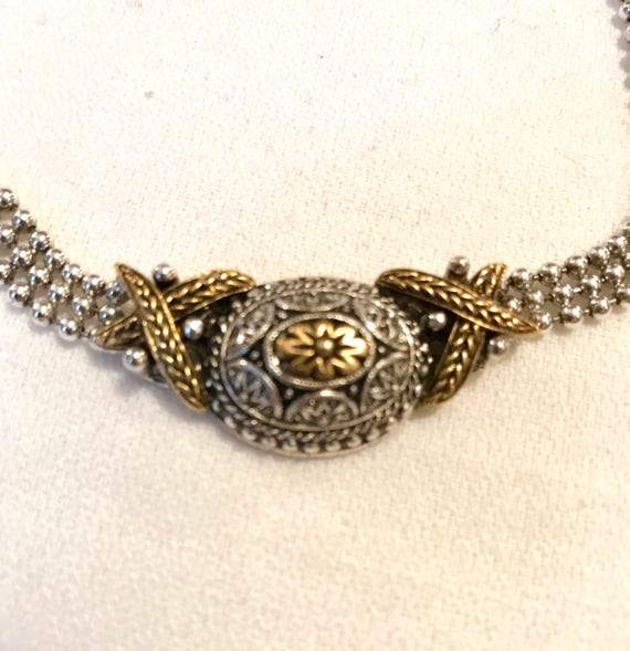 Vintage Two Tone Gold & Silvertone Ball chain linked Choker Style Necklace with Pretty Romantic Center Pendant